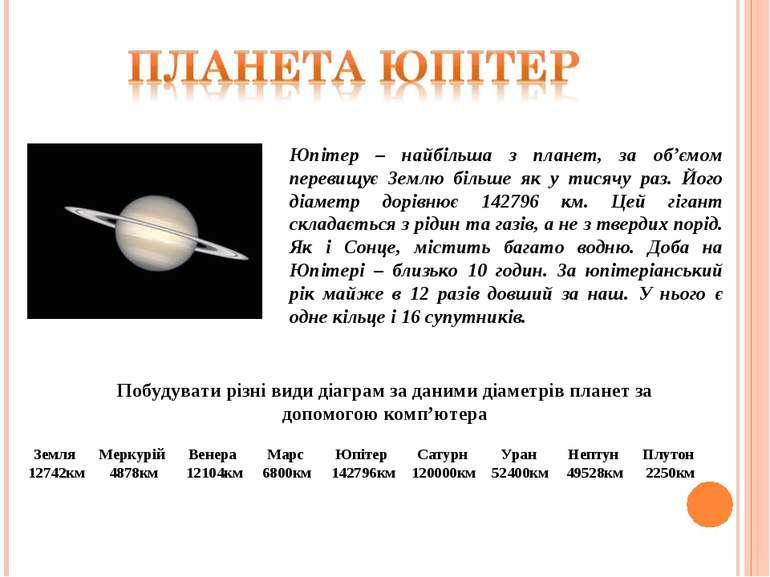 Юпітер – найбільша з планет, за об'ємом перевищує Землю більше як у тисячу ра...