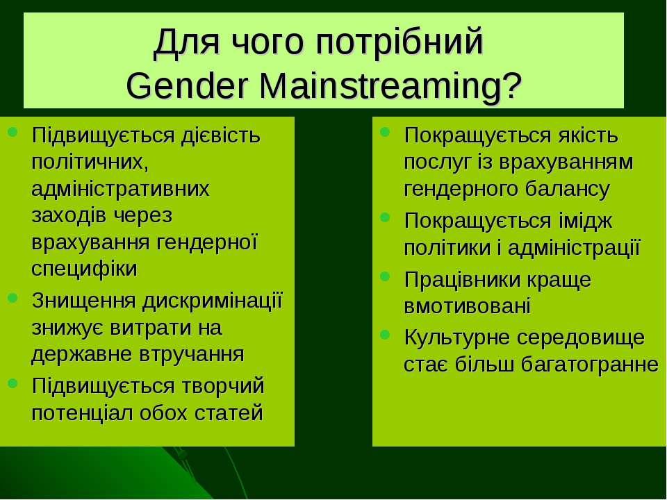 Для чого потрібний Gender Mainstreaming? Підвищується дієвість політичних, ад...