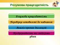 Розумова працездатність Розумова працездатність Перевірка готовності до навча...