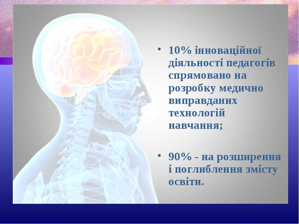 10% інноваційної діяльності педагогів спрямовано на розробку медично виправда...