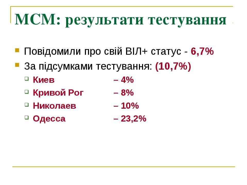 МСМ: результати тестування Повідомили про свій ВІЛ+ статус - 6,7% За підсумка...