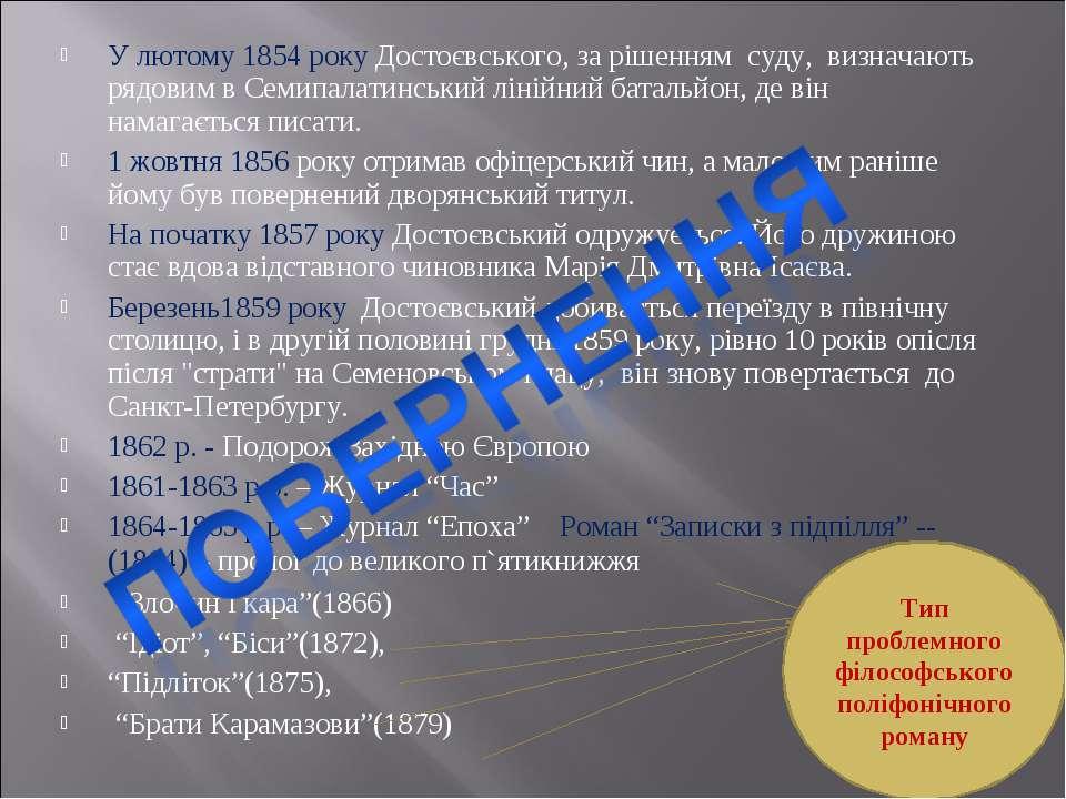 У лютому 1854 року Достоєвського, за рішенням суду, визначають рядовим в Семи...