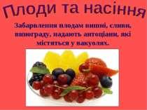 Забарвлення плодам вишні, сливи, винограду, надають антоціани, які містяться ...