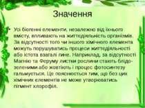 Значення Усі біогенні елементи, незалежно від їхнього вмісту, впливають на жи...