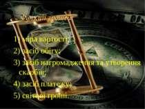 Функції грошей: 1) міра вартості; 2) засіб обігу; 3) засіб нагромадження та у...
