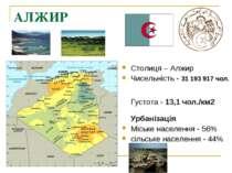 АЛЖИР Столиця – Алжир Чисельність - 31 193 917 чол.  Густота - 13,1 чол./км...