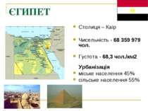 ЄГИПЕТ Столиця – Каір Чисельність - 68 359 979 чол. Густота - 68,3 чол./км2 У...