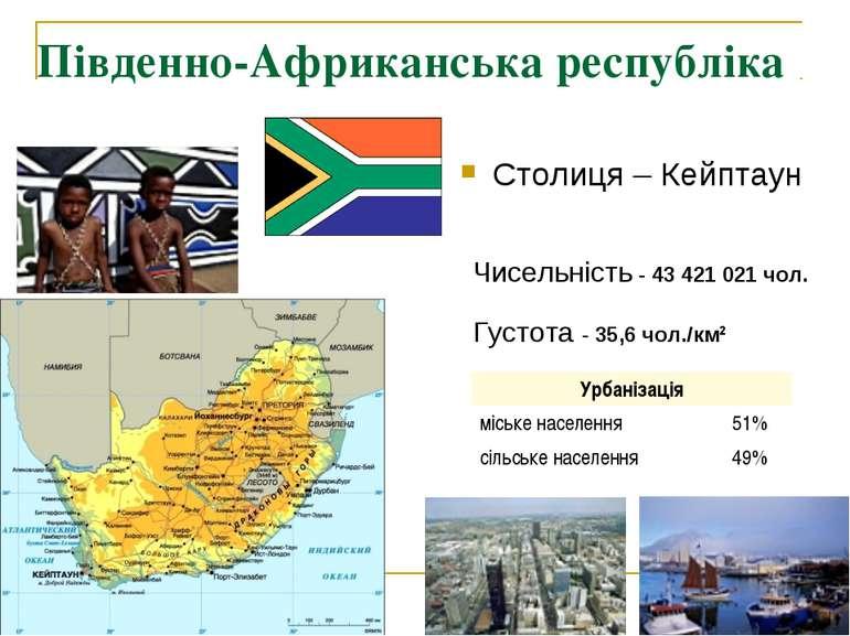 Південно-Африканська республіка ПАР Столиця – Кейптаун  Чисельність - 43 421...