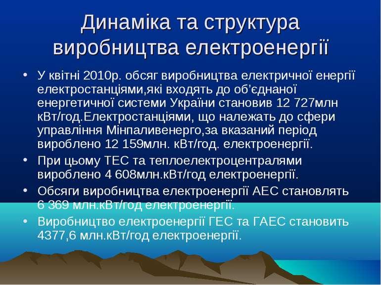 Динаміка та структура виробництва електроенергії У квітні 2010р. обсяг виробн...