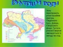 Зону перетинають річки басейнів Дністра, Південного Бугу, Дніпра, Сіверського...