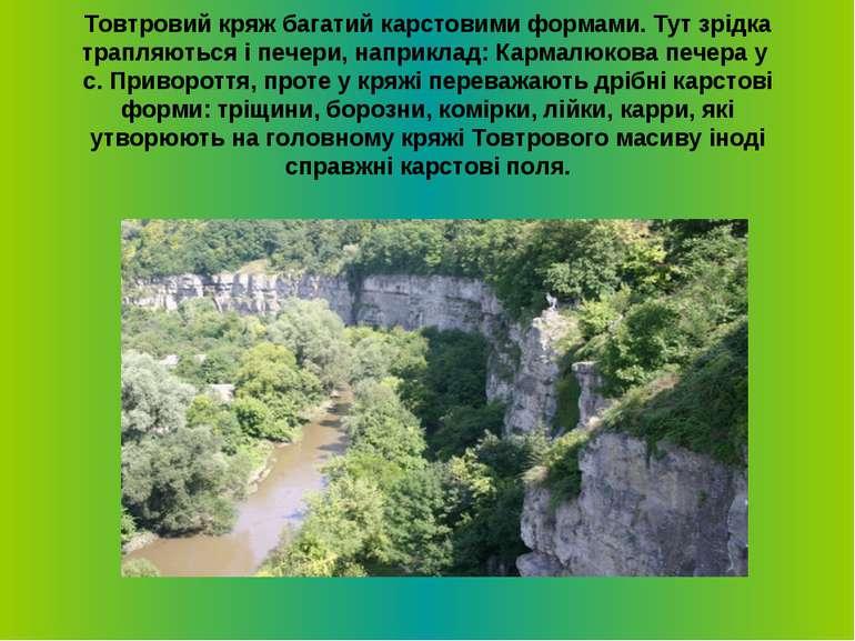 Товтровий кряж багатий карстовими формами. Тут зрiдка трапляються i печери, н...