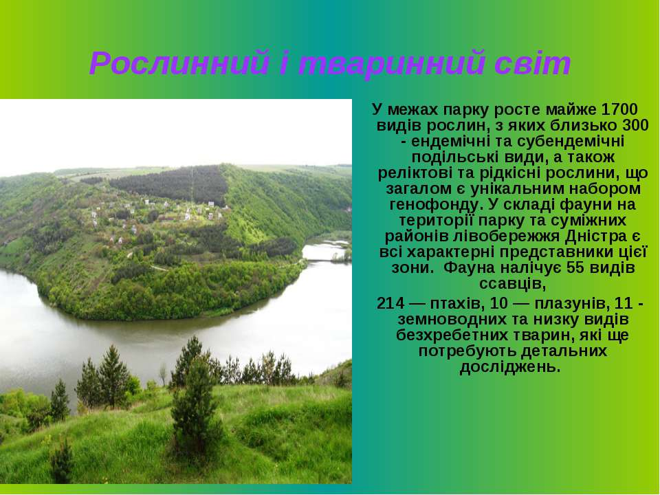 Рослинний і тваринний світ У межах парку росте майже 1700 видів рослин, з яки...