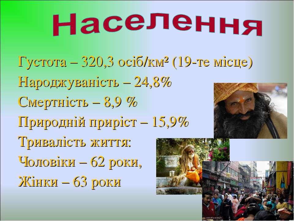 Густота – 320,3 осіб/км² (19-те місце) Народжуваність – 24,8% Смертність – 8,...