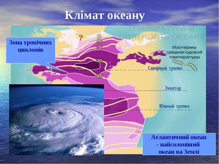 Клімат океану Атлантичний океан - найсолоніший океан на Землі ? ? Зона тропіч...