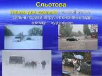 Сльотова Типова для циклонів, основні ознаки: сильні пориви вітру, інтенсивні...