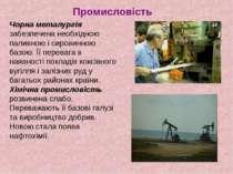 Промисловість Чорна металургія забезпечена необхідною паливною і сировинною б...