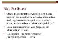 Вісь Воєйкова Смуга підвищеного атмосферного тиску взимку, яка розділяє терит...