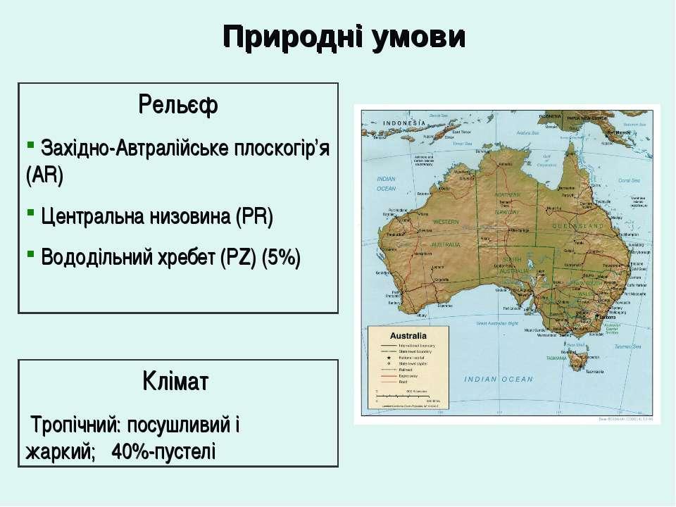 Природні умови Рельєф Західно-Автралійське плоскогір'я (AR) Центральна низови...