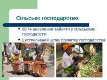 Сільське господарство 65 % населення зайнято у сільському господарстві Екстен...