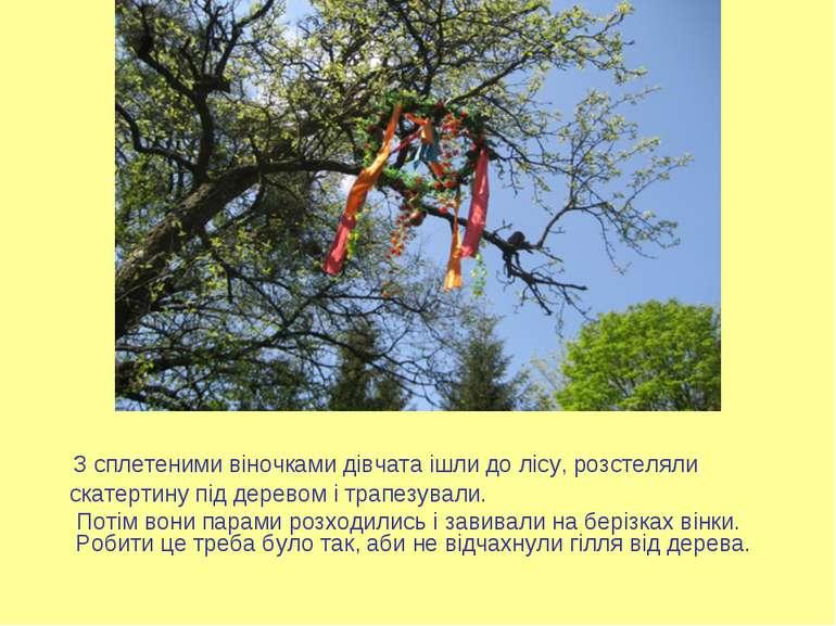 З сплетеними віночками дівчата ішли до лісу, розстеляли скатертину під дерево...