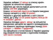 Україна займає 17 місце в списку країн-лідерів за кількістю курців; Щорічно д...