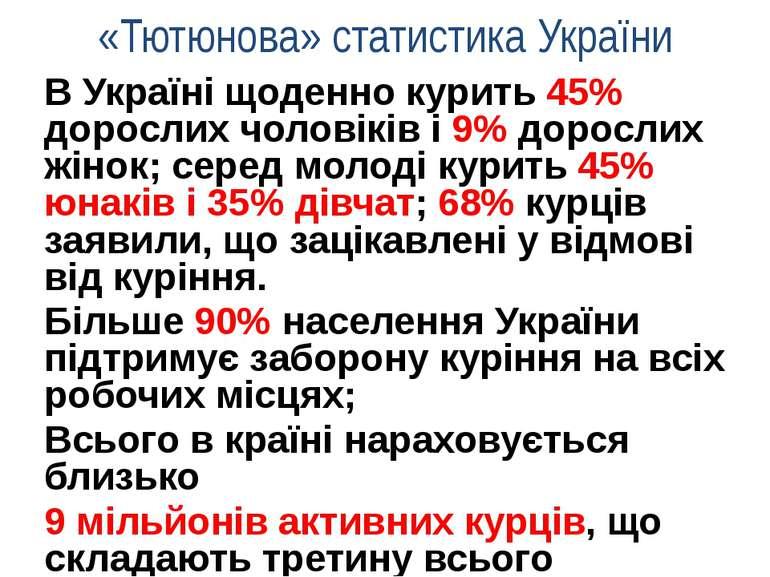 «Тютюнова» статистика України В Україні щоденно курить 45% дорослих чоловіків...