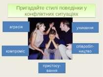 Пригадайте стилі поведінки у конфліктних ситуаціях агресія пристосу-вання ком...