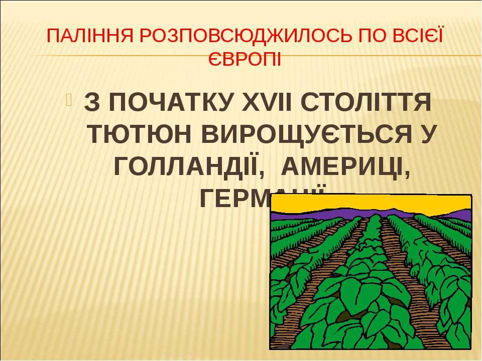 ПАЛІННЯ РОЗПОВСЮДЖИЛОСЬ ПО ВСІЄЇ ЄВРОПІ З ПОЧАТКУ XVII СТОЛІТТЯ ТЮТЮН ВИРОЩУЄ...