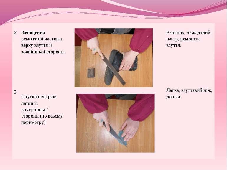 2 3 Зачищення ремонтної частини верху взуття із зовнішньої сторони. Спускання...