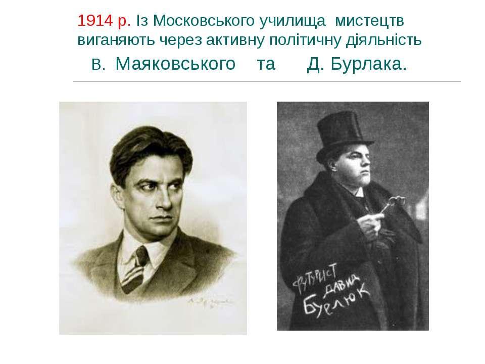1914 р. Із Московського училища мистецтв виганяють через активну політичну ді...