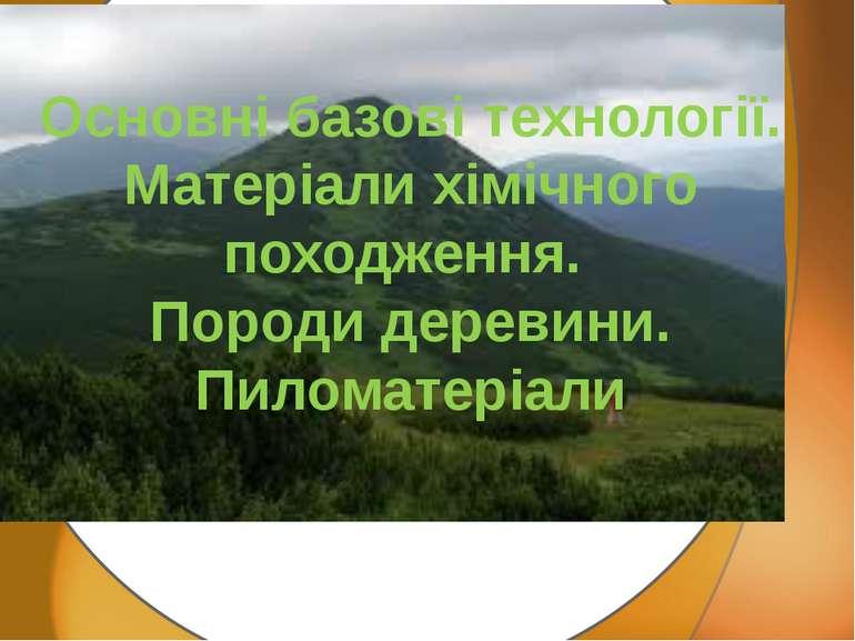 Основні базові технології. Матеріали хімічного походження. Породи деревини. П...