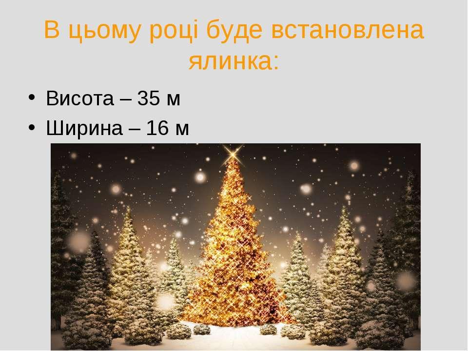 В цьому році буде встановлена ялинка: Висота – 35 м Ширина – 16 м