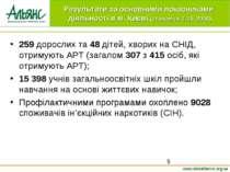 259 дорослих та 48 дітей, хворих на СНІД, отримують АРТ (загалом 307 з 415 ос...
