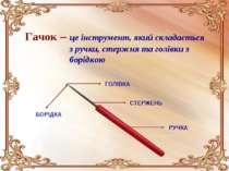 Гачок – це інструмент, який складається з ручки, стержня та голівки з борідко...
