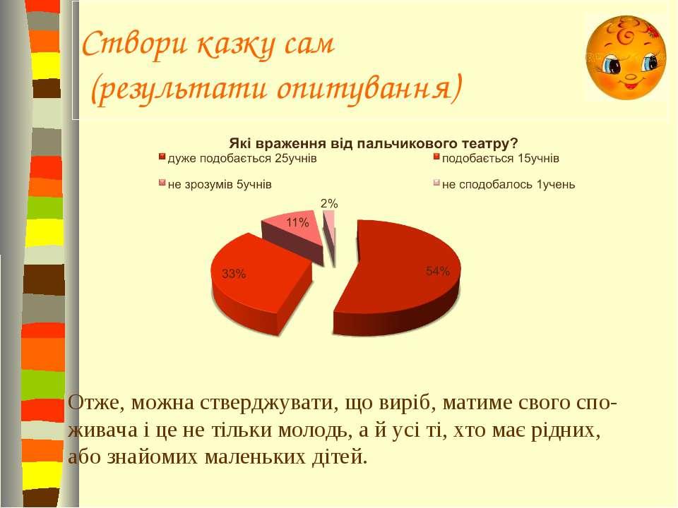 Створи казку сам (результати опитування) Отже, можна стверджувати, що виріб, ...