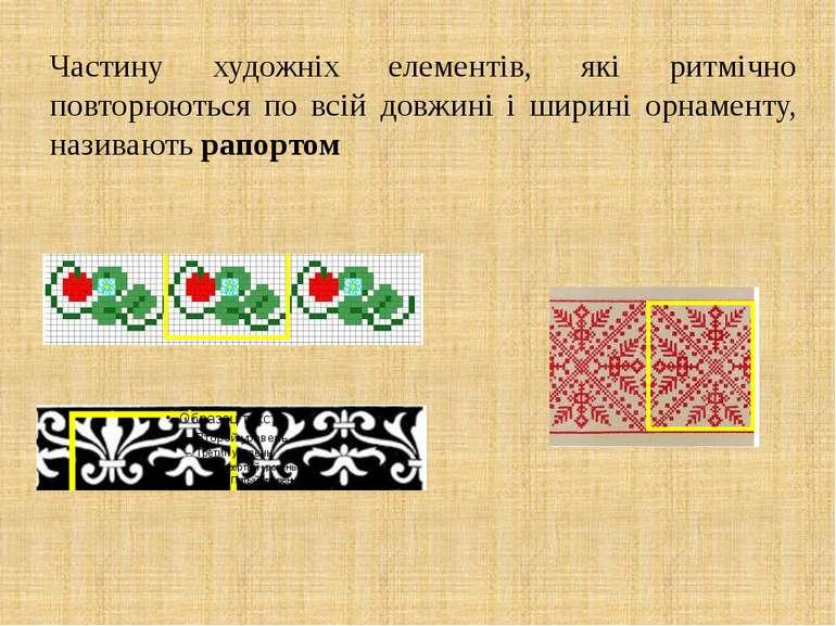 Частину художніх елементів, які ритмічно повторюються по всій довжині і ширин...