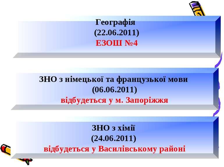 ЗНО з німецької та французької мови (06.06.2011) відбудеться у м. Запоріжжя Г...