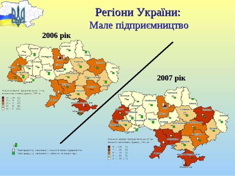 Регіони України: Мале підприємництво 2006 рік 2007 рік