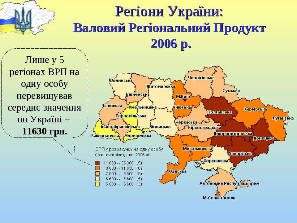 Регіони України: Валовий Регіональний Продукт 2006 р. Лише у 5 регіонах ВРП н...