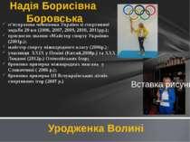 п'ятиразова чемпіонка України зі спортивної ходьби 20 км (2006, 2007, 2009, 2...