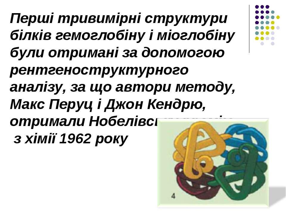 Перші тривимірні структури білків гемоглобіну і міоглобіну були отримані за д...