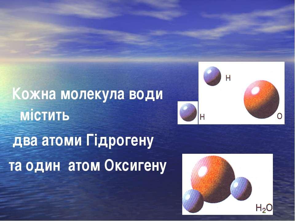 Кожна молекула води містить два атоми Гідрогену та один атом Оксигену