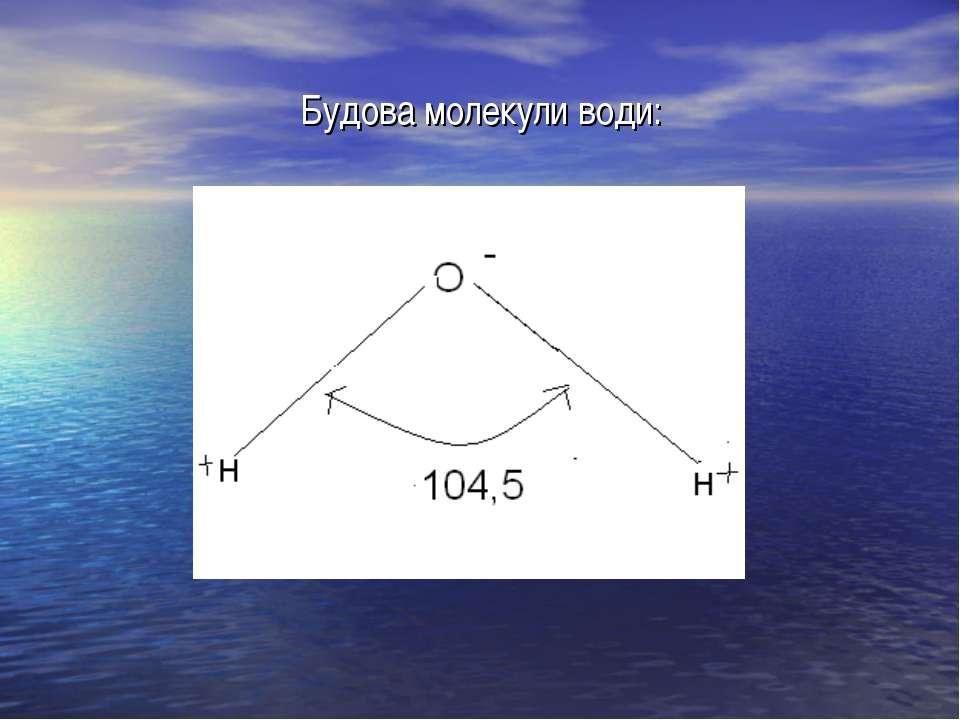Будова молекули води: