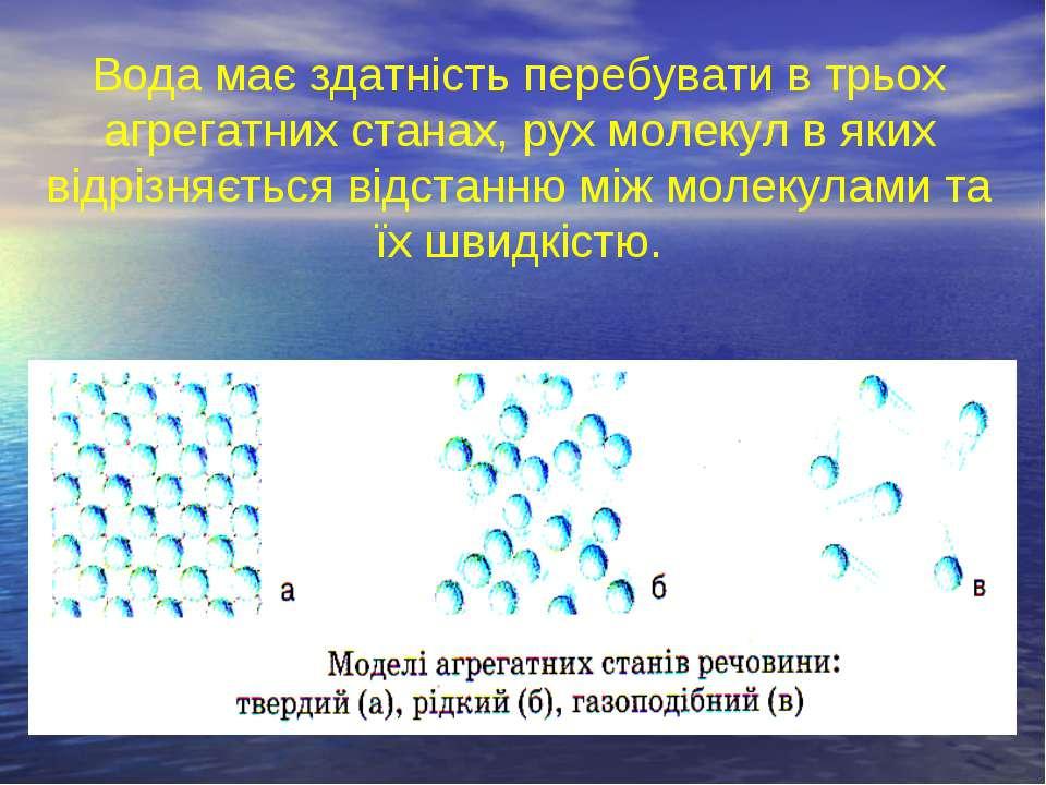 Вода має здатність перебувати в трьох агрегатних станах, рух молекул в яких в...