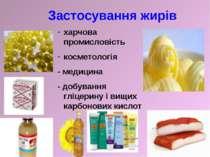 Застосування жирів харчова промисловість косметологія - медицина - добування ...