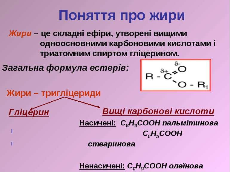 Гліцерин СН2 -ОН СН-ОН СН2 -ОН Вищі карбонові кислоти Насичені: С15Н33СООН па...
