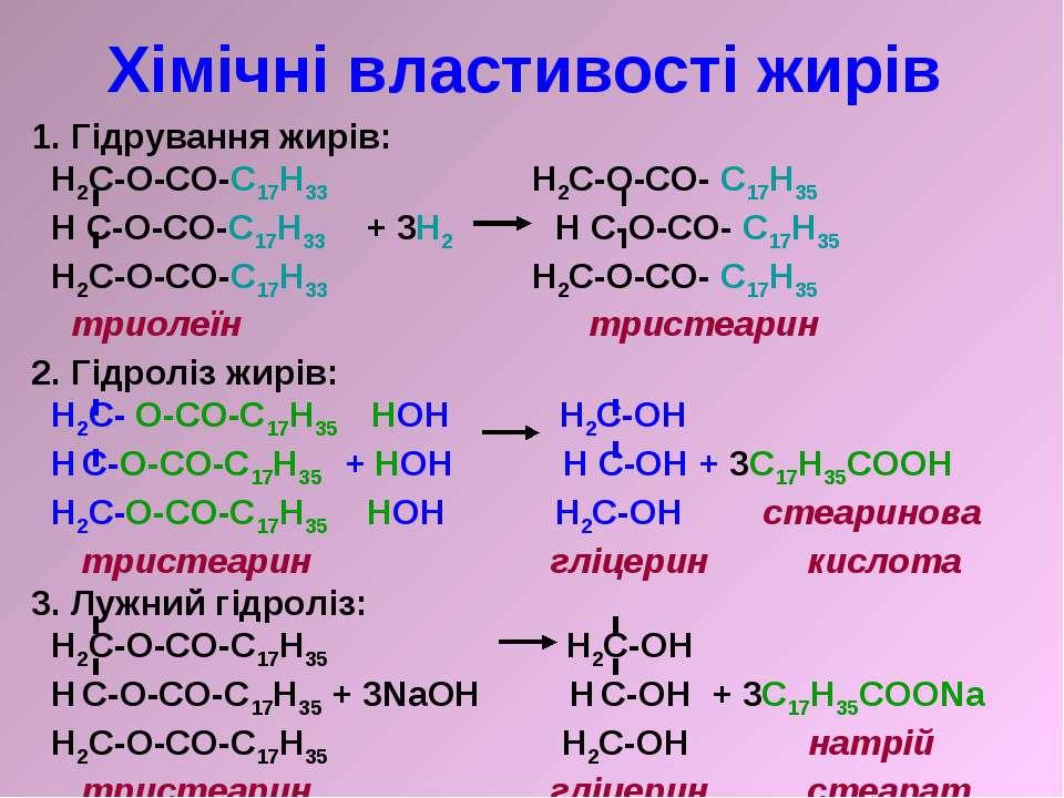 Хімічні властивості жирів 1. Гідрування жирів: H2C-O-CO-C17H33 H2C-O-CO- C17H...