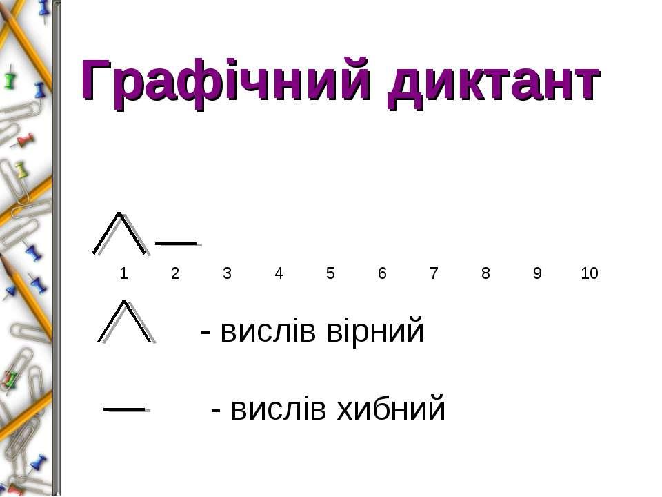 Графічний диктант - вислів вірний - вислів хибний 1 2 3 4 5 6 7 8 9 10