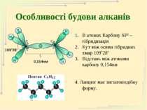 Особливості будови алканів В атомах Карбону SP3 – гібридизація Кут між осями ...