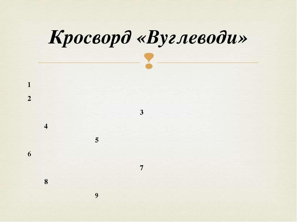 Кросворд «Вуглеводи» 1 2 3 4 5 6 7 8 9
